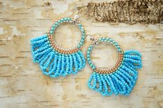 summer earrings with beads boho blue by CattaleyaJewelry on Etsy
