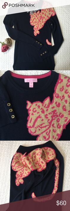 Lilly Pulitzer Charter Leopard Sweater Top In excellent condition!   { FYI, I'm not interested in trading :) Thanks! } Lilly Pulitzer Sweaters Crew & Scoop Necks