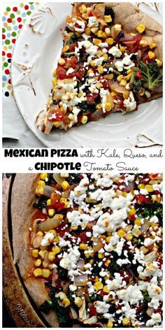 mexican pizza with kale, queso and a chipotle tomato sauce