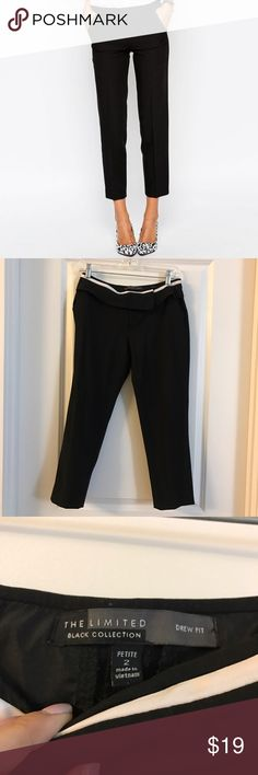 BLACK ANKLE CHINO PANTS In great condition black ankle pants with white trim and flap overlay on the waistband. Perfect detailing so you can tuck your shirt in. These are size 2 petite. I am 5'4 and they are perfect above the ankle pants for me. Brand is the limited J. Crew Pants Ankle & Cropped
