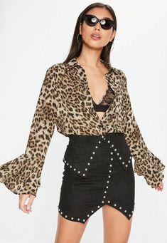 Leopard Print Frill Sleeve Shirt