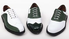 Golf shoes for the fashion-savvy golfer! Limited to just 200 pairs worldwide and Mens Golf Fashion, Mens Golf Outfit, Golf Attire, New Golf, Womens Golf Shoes, Green Shoes, Shoe Dazzle, Ladies Golf, Sock Shoes