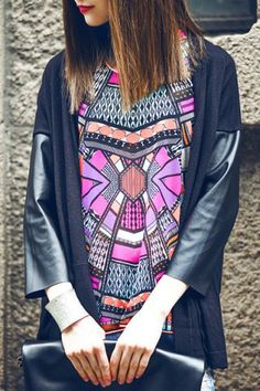 Fascinating 3/4 Sleeve Splicing Design Loose -Fitting Cardigan