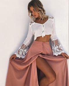$55 Cute Cool Summer White Sheer Lace Detail Flared Sleeved Cropped Blouse With Dusty Pink Button Up Slit Maxi Skirt