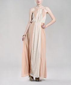 Vintage Khaki Lace-Trim Yoke Dress