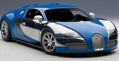 Bugatti Veyron Veyron L'Edition Centenaire French Blue Jean-Pierre Wimille 1:18 scale diecast car.  AUTOart 70956. Autoart Signature Series.