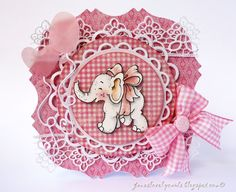 Little Trumpety Elephant with Bow / Jane's Lovely Cards