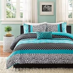 #Priceabate Girls Teen Blue Black White DAMASK DOTS LEOPARD STRIPE Comforter Bed Set TWIN - Buy This Item Now For Only: $67.99