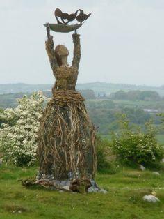 Statue of Brighid. Sacred Feminine, Divine Feminine, Celtic Goddess, Brighid Goddess, St Brigid, Triple Goddess, Land Art, Gods And Goddesses, Mother Earth
