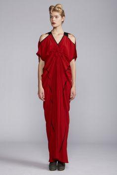 Red bridal dress anyone... Love.       Spiral Shibori Cut Out Long Dress, by Akira