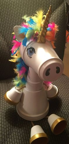 Whimsical clay pot Unicorn made by Sandy Byerly at Family Time Crafts. Please like my Facebook page Family Time Crafts  #GardeningCrafts