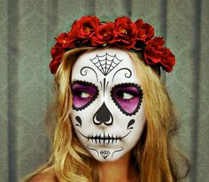 The Red Queen  Dia de los Muertos crown red rose by WhimsyDo, $35.00