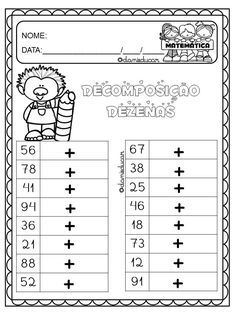 Atividades de decomposição Math 2, Maths Puzzles, Fun Math, Math Lessons, Kids Education, Professor, Book Art, It Works, Homeschool