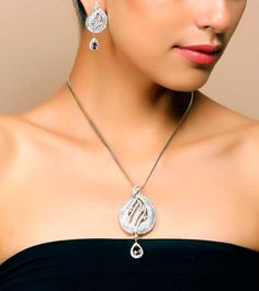 Aradhyaa Sparkling CZ Gold Plated Pendant set #pendantset