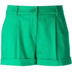 P.A.R.O.S.H. Pleated Shorts ($104) ❤ liked on Polyvore featuring shorts, bottoms, green, p.a.r.o.s.h., pleated shorts and green shorts