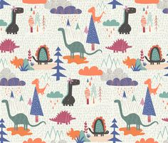 Dino Family fabric by demigoutte on Spoonflower - custom fabric #kids #pattern