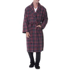 Fruit of the Loom Men's Woven Flannel Robe, Size: 2XL, Blue