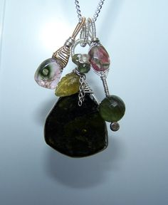 Green tourmaline wire wrapped pendant necklace by JPGemJewels
