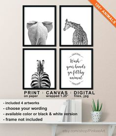 Funny Bathroom Decor Set of Toilet Wall Art, Wash Your Hands Ya Filthy Animal Quote, Animal Butt Wall Art, Restroom Decor, Bath Room Set Funny Bathroom Decor, Bathroom Decor Sets, Bathroom Humor, Bathroom Ideas, White Bathroom, Canvas Wall Art, Wall Art Prints, Toilet Wall, Ya Filthy Animal