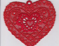 Fantasy and Flowers Large See Through Heart Pendant by TUTreasures