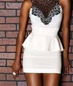 White & black peplum lace dress
