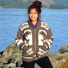 Cowichan Sweater Authentic Coast Salish Native by FaceofNative Cowichan Sweater, Winter Must Haves, Sweater Making, Sheep Wool, Knitting Projects, Knitting Ideas, First Nations, Contemporary Fashion, Wool Sweaters