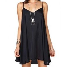 Simple Style Spaghetti Straps Solid Color All-Match Women's Dress