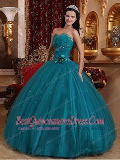 Teal Ball Gown Sweetheart Floor-length Tulle Beading Quinceanera Dress    dressforquinces.com
