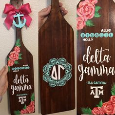 Delta Gamma Sorority paddle. Stained wood paddle, floral, big and little, mandala, lily flowers, diy paddle, Texas A&M, sorority gift, By Allie Clayton of Eta Gamma