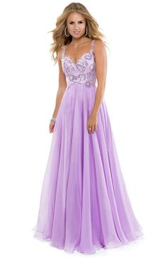 Lilac Beaded Chiffon Evening Dress - Rachel Allan 6903 - Prom 2015 ...