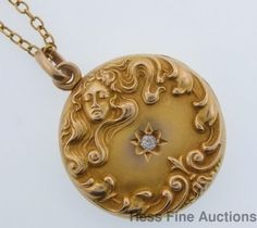 Antique 1890s Art Nouveau Lady Swirls Diamond 14k Gold Locket Pendant Necklace | eBay