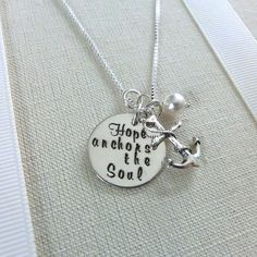 """This sterling silver multi pendant necklace is hand-stamped with the encouraging words of scripture from Hebrews """"Hope Anchors the Soul"""". chain length = sterling silver box chain with a lobster claw clasp. Mens Silver Necklace, Men Necklace, Silver Earrings, Silver Jewelry, Pendant Necklace, Hope Anchor, Graduation Jewelry, Silver Rings Online, Hand Stamped Necklace"""
