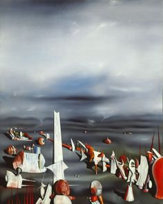 The Rapidity of Sleep painting by Yves Tanguy at Art Institute of Chicago. Yves Tanguy, Watercolor Landscape Paintings, Oil Paintings, Surrealism Painting, Pop Surrealism, Glitch Art, Max Ernst, Magritte, Art Institute Of Chicago