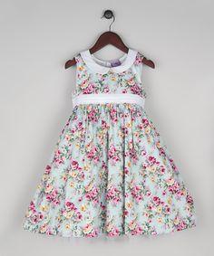 This Joe-Ella Mint Floral Peter Pan Collar Dress - Infant, Toddler & Girls by Joe-Ella is perfect! #zulilyfinds