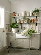 potting area at entry to mudroom