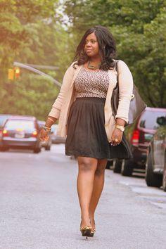HCamel Cardigan;Cheetah Print topandCareer Bag  ZaraPony hair platforms  Thriftedblack skirt