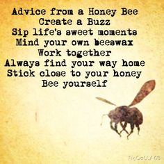 True advice from a honeybee.wise words🐝🌼bee happy and always bee yourself~one should always listen to this~ inspiring Cool Words, Wise Words, Under Your Spell, I Love Bees, Bee Art, Bee Theme, Busy Bee, Bee Happy, Queen Bees