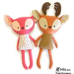 Fawn and Deer Sewing Pattern by Dolls and Daydreams. $10.00. So many other adorable creature patterns too.