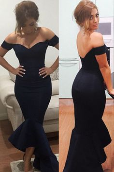 This Sexy off the shoulder Mermaid hem accent and feminine evening dress has a Stretch fit with a fitted bodice and chic peplum at the bottom.This sexy dress is perfect for all formal party occasions.