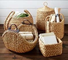 Outsmart clutter with stylish storage solutions from Pottery Barn. Find home organization ideas, inspiration and products to create an organized home. Rope Basket, Basket Weaving, Hand Weaving, Basket Decoration, Storage Baskets, Towel Storage, Wicker Baskets, Picnic Baskets, Jute