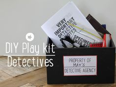 Put together a cool detective play kit for all kinds of imaginary detective play. There's a free printable workbook plus ideas for what to put in the kit.