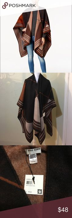 Anne Klein Split Wrap Poncho Stripes and geometric shapes of all sorts mark out a statement-making design on this soft knit poncho with pointed ends. 100% Acrylic. Anne Klein Accessories Scarves & Wraps