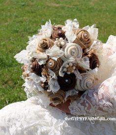 Burlap and Lace Wedding Bouquets for Rustic Vintage Farm Wedding by GypsyFarmGirl