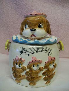 COOKIE/BISCUIT JAR MADE IN JAPAN! Dancing Puppy Dogs Woven Wicker Handle