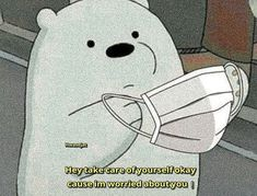 Take care of yourself cause I'm worried about you. We Bare Bears Wallpapers, Panda Wallpapers, Cute Cartoon Wallpapers, Cute Panda Wallpaper, Bear Wallpaper, Cute Disney Wallpaper, Ice Bear We Bare Bears, We Bear, Cute Love Memes