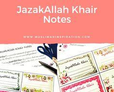 Thank you or JazakAllah khair Notes
