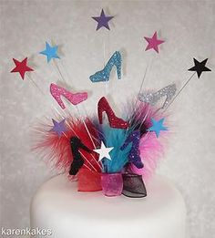 GLITTERED SHOES BIRTHDAY CAKE TOPPER WITH FEATHERS | eBay
