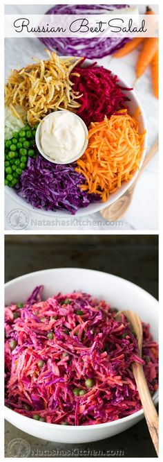 Russian beet salad is always a hit at holiday parties and church potlucks and it's easy peasy! Russian beet salad is always a hit at holiday parties and church potlucks and it's easy peasy! Beet Recipes, Veggie Recipes, Vegetarian Recipes, Cooking Recipes, Healthy Recipes, Locarb Recipes, Atkins Recipes, Parmesan Recipes, Bariatric Recipes