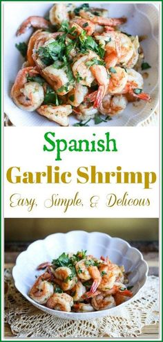 Spanish garlic shrimp is a classic Spanish Tapas Dish. The simple layering process allows each flavor to build on each other into a delectable shrimp dish. Shrimp Recipes, Fish Recipes, Great Recipes, Dinner Recipes, Favorite Recipes, Mexican Recipes, Amazing Recipes, Snack Recipes