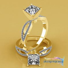 Princess Cut Lab Diamond Silver 925 Solid Yellow Gold Engagement Wedding Ring #Silvergemsjewelry #SolitairewithAccents